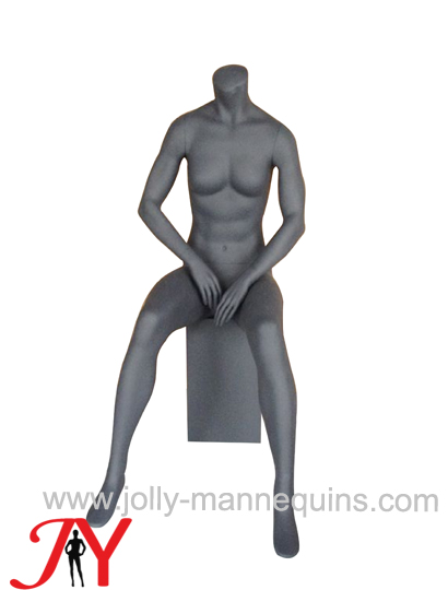 jolly mannequins sport female headless sitting mannequin metalic grey color M-7