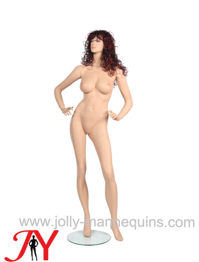 Jolly mannequins-skin color sexy female mannequin with brown wig-SY-OL7