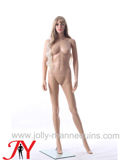 Jolly mannequins-plastic female realistic face mannequin with makeup long blond wig-ERB-3