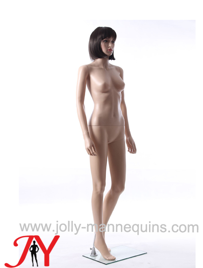 Jolly mannequins-plastic female realistic face mannequin with makeup short wig-ERB-2