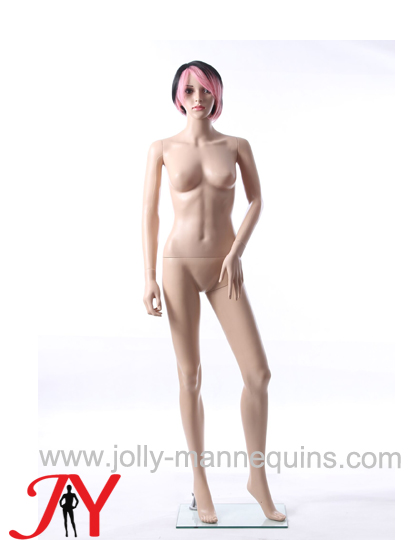 plastic female realistic face mannequin with makeup short wig skin color-ERB-1