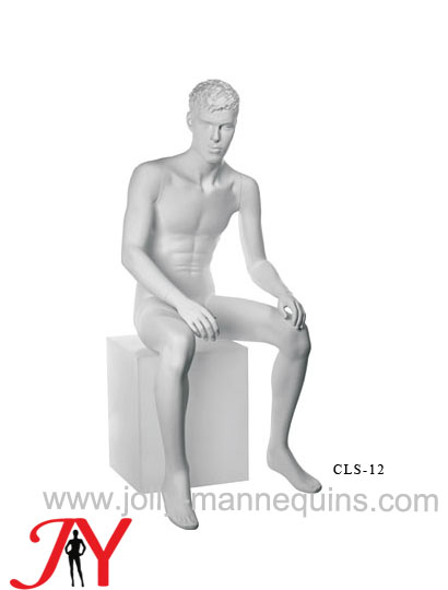 realistic male sitting mannequin with white matte color sculpture hair-CLS-012