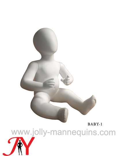 Jolly mannequins-egghead child sitting mannequin with white matte color-JY-BABY-1