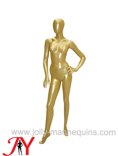 Jolly mannequins gold glossy painted female egghead mannequin right arms on hips pose JY-AD13