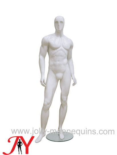 Jolly mannequins best selling big size male full body abstract mannequin white glossy color JY-MB003