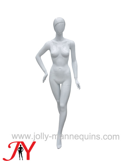 Jolly mannequins white glossy color abstract female mannequin cross legs JY-KN4