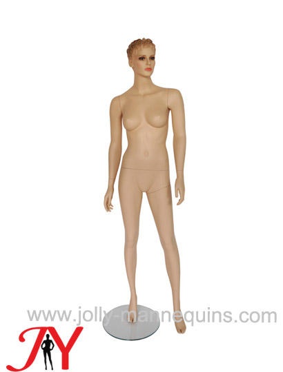 Jolly mannequins sculpture hair realistic female mannequin straight arms left leg leaning pose JY-NB42
