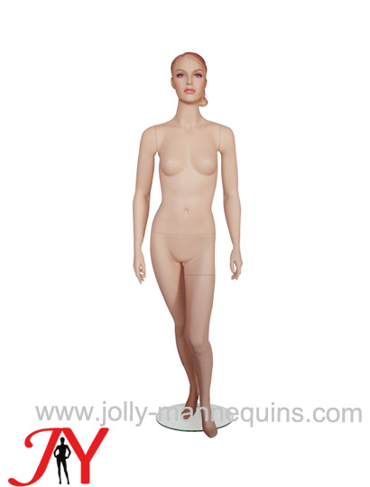 Jolly mannequins skin color realistic sculpture bun hair female mannequin JY-N05