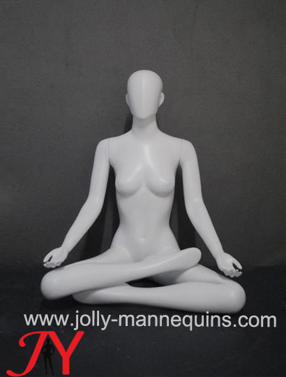 Jolly mannequins-White color sports -seated cross legs female yoga mannequin EW-081