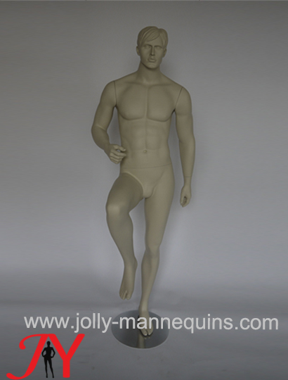 Jolly mannequins- European style male sculpture hair sport mannequin with left leg lift up pose  MOS-01BSSH