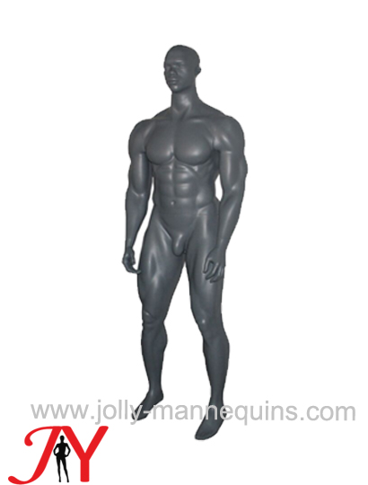 Jolly mannequins- metallic gray color sport muscle male mannequins with realistic head  MX-01with realistic head