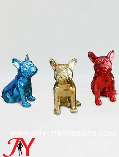 Jolly mannequins- Chrome bull dog display animal mannequin for sale with window show 1002