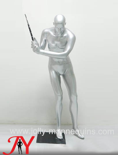 Jolly mannequins-Sport shop display silver color playing golf posture male mannequin JY-0052