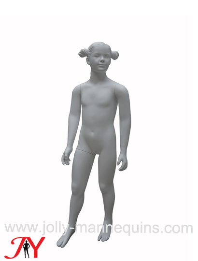 Jolly mannequins-white matte color realistic girl child mannequin with sculpture hair PZ-4+SH