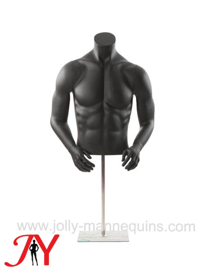 Jolly mannequins-black matte color headless big muscle male mannequin torso JY-0059