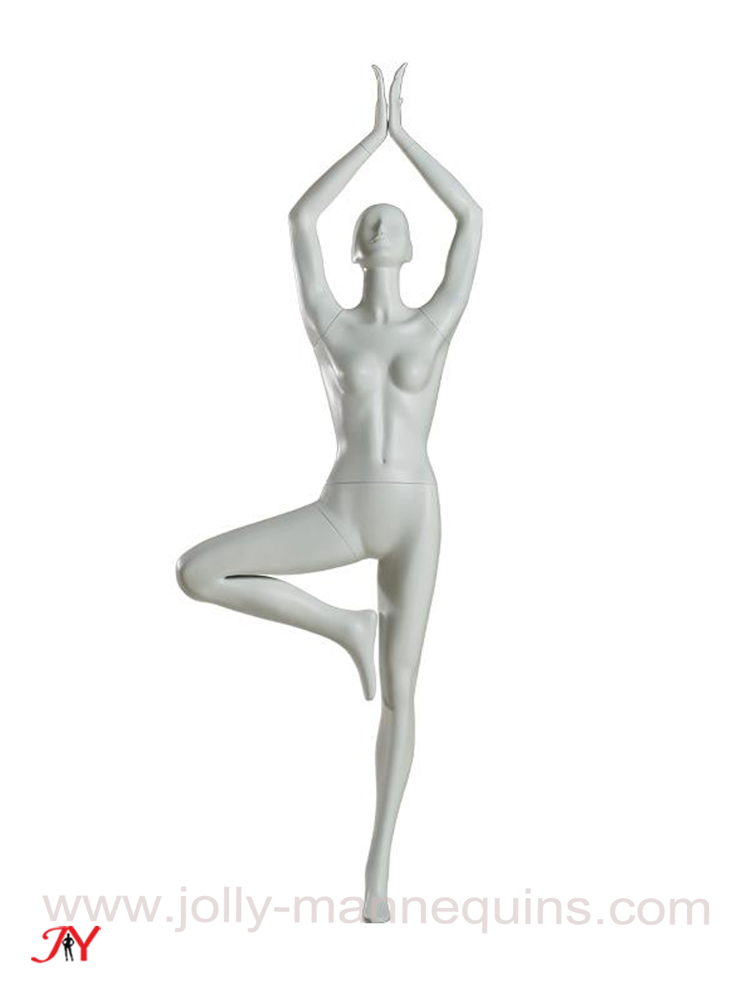 Jolly-mannequins white matte sports yoga female mannequins in tree pose YG-7