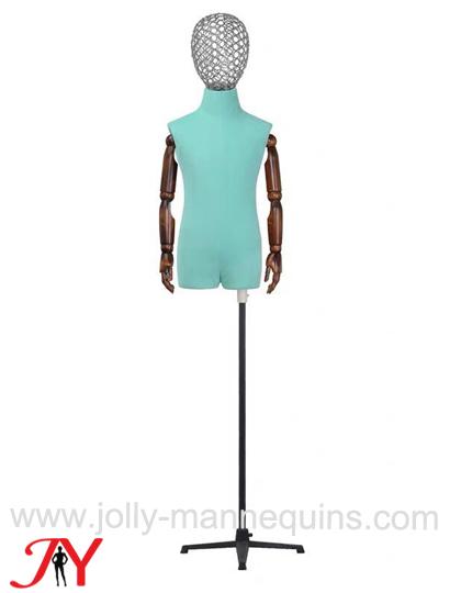 jolly mannequins blue color adjustable dress form child torso