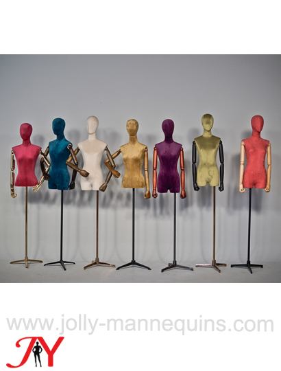 jolly mannequins suede fabric cover female mannequin dress bust form Alisa