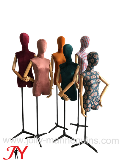 Jolly mannequins suede colored fabric cover female dress form with legs Tiana