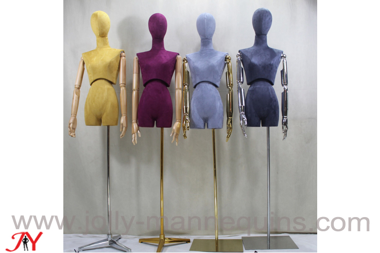 jolly mannequins colored suede flexible waist female dress form Beatrice
