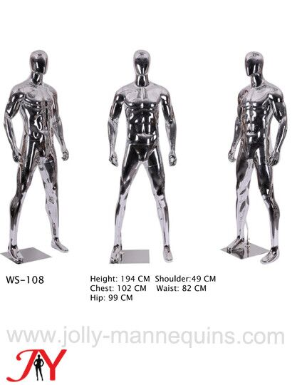 silver color male sport athletic mannequin WS108