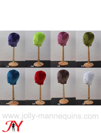 jolly mannequins abstract face colored velvet female mannequin head form Heidi