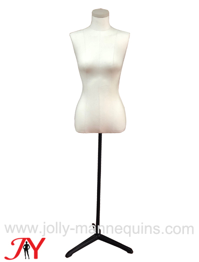 jolly mannequins simple style adjustable height economy off white canvas female dress form FT07