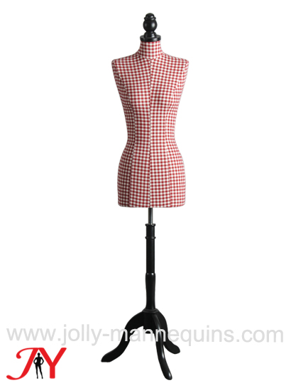 jolly mannequins red checked fabric female dress form B01