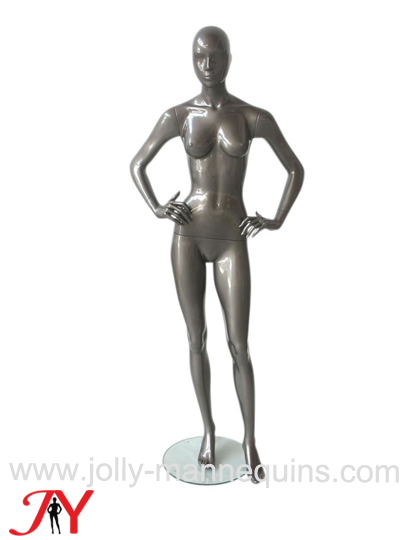 jolly mannequins silver glossy arms on waist female abstract mannequin Alfa02